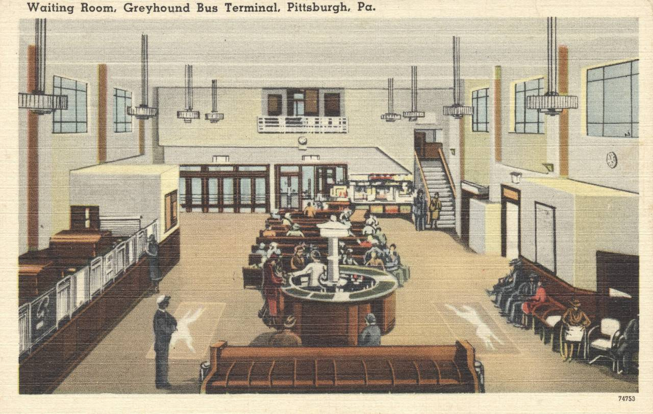 Greyhound Bus Terminal Waiting Room - Pittsburgh, Pennsylvania postcard