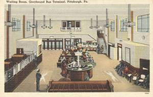 Greyhound Bus Terminal Waiting Room - Pittsburgh, Pennsylvania mailed 1952