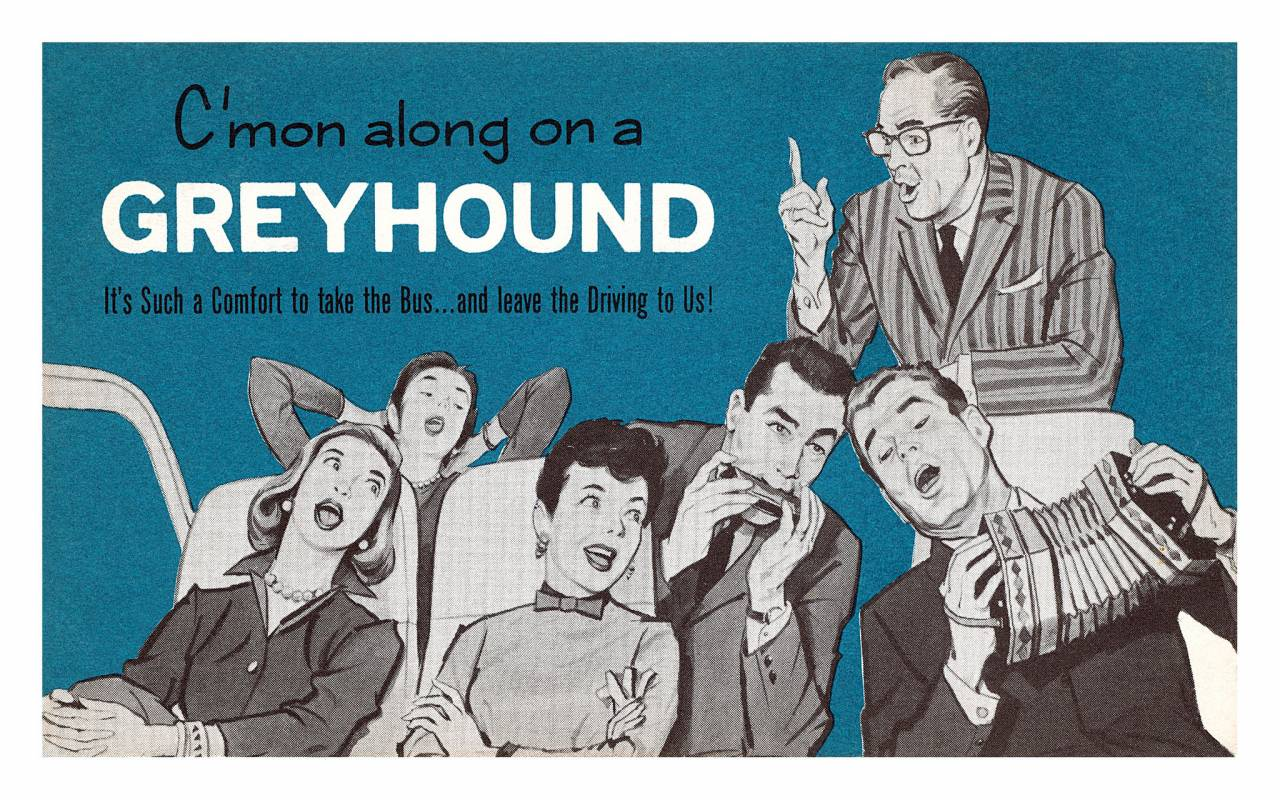 Greyhound Bus postcard