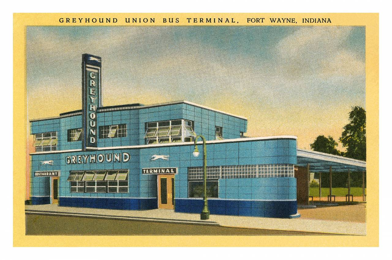 Greyhound Terminal, Fort Wayne, Indiana postcard