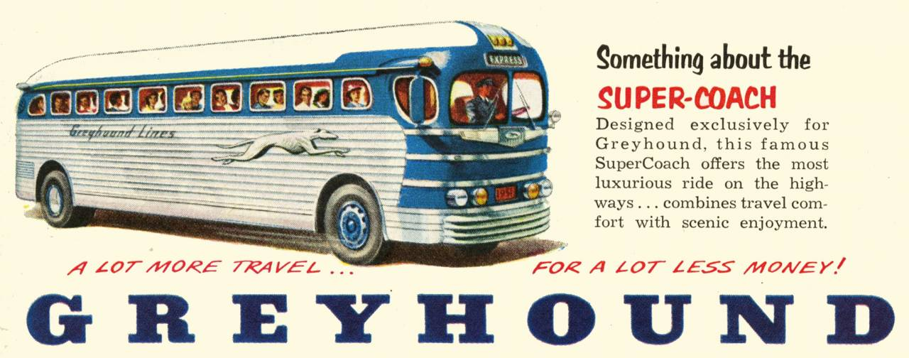 Greyhound bus ad from 1951