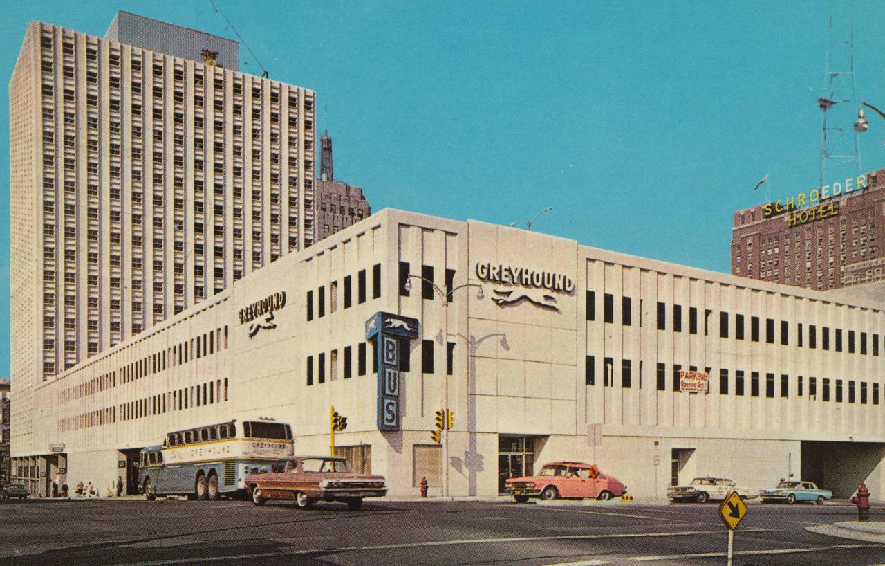 Greyhound terminal Milwaukee Wisconsin postcard