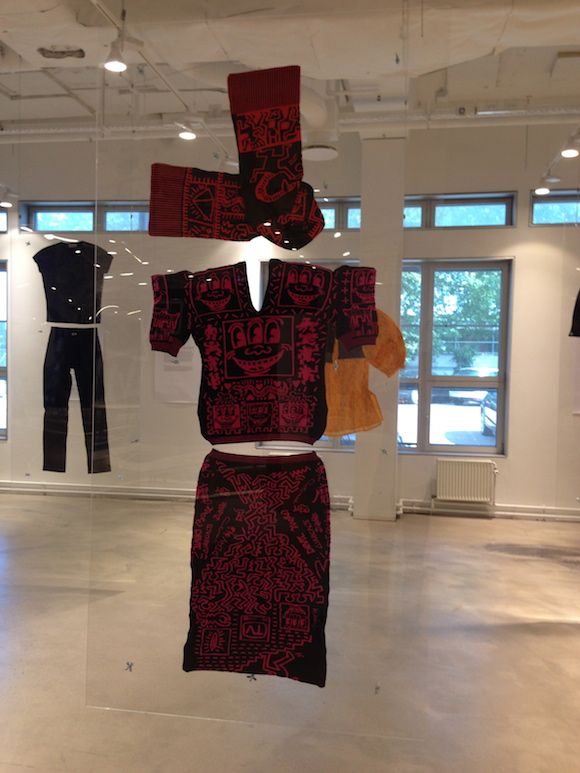 Witches jacquard two piece and scarf with Haring print. Kim Jones Collection