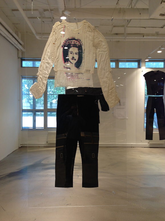 God Save The Queen Muslin top, Seditionaries, 1977. McLaren's bondage trousers, Sex, 1976. Malcolm McLaren Estate/private collection
