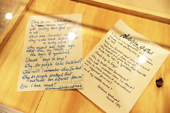 McLaren's handwritten Nostalgia Of Mud press release for Vivienne Westwood; her version in her own handwriting. Photo: Jean Francois Carly (c) Malcolm McLaren Estate