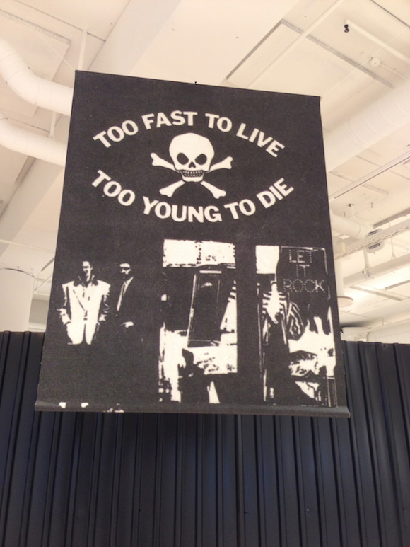 Too Fast To Live Too Young To Die with McLaren and Gerry Goldstein in foreground, 1973. Photo: Malcolm McLaren Estate. Printed on canvas 60 x 40""