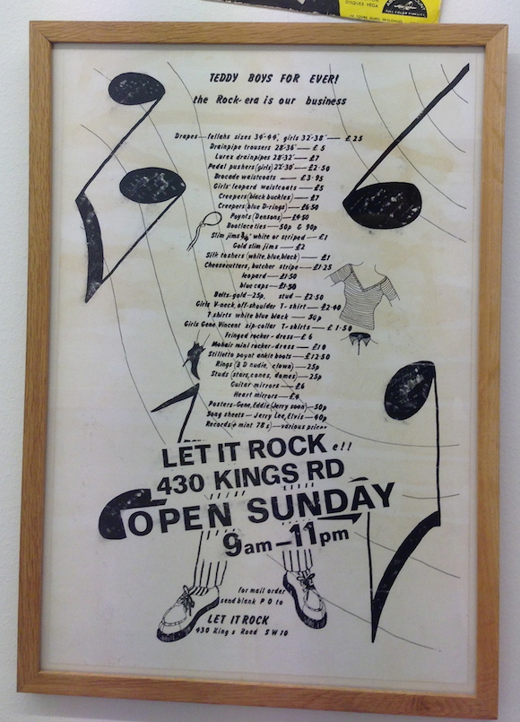 McLaren's framed copy of the LIR price list he designed in 1972. Malcolm McLaren Estate