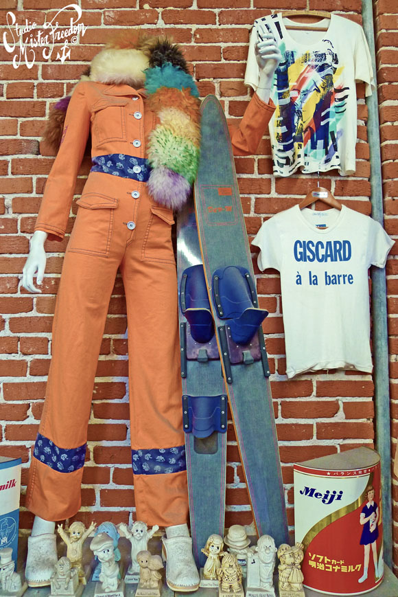 Jumpsuit from 70s London boutique Mr Freedom among in-store display items.