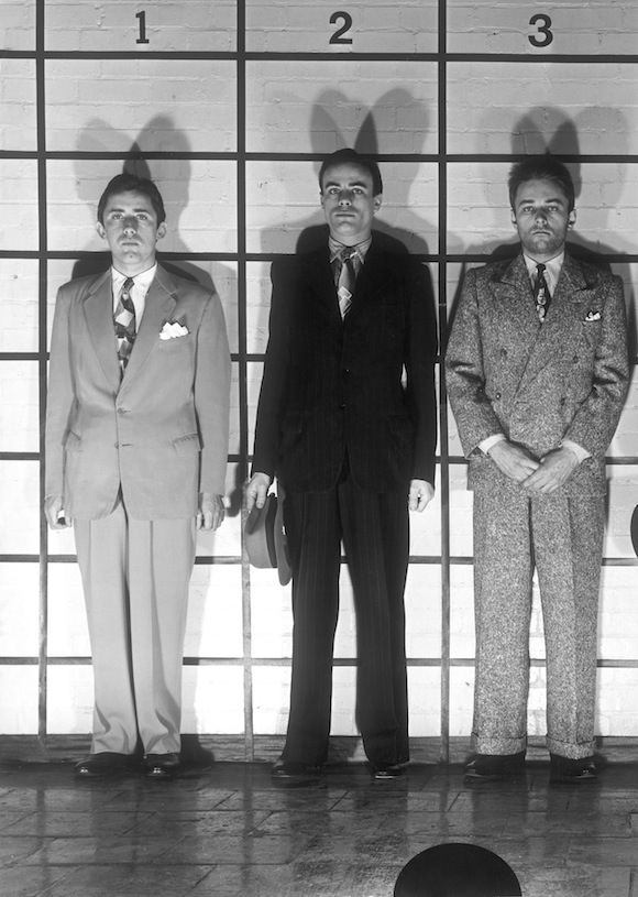 Outtake from suit feature Arresting Forties, Club International 1974. Raynor (left) and others model Acme suits. Photo: David Parkinson