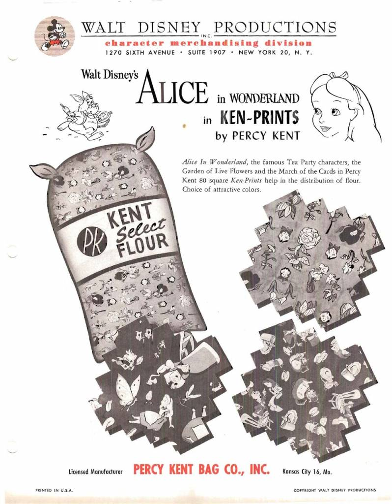 In 1951 Disney licensed the Alice characters for a series of these sacks in 3 patterns: Garden of Live Flowers, March of the Cards, and Mad Tea Party.