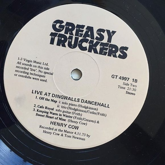 Back, Greasy Truckers Live At Dingwall's Dance Hall, 1973. Illustration: Holly Hollington, design/lettering: Kevin Sparrow