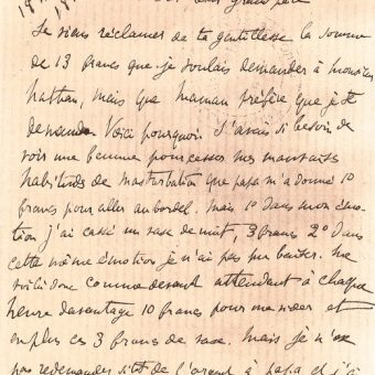 16-Year-Old Marcel Proust Writes To His Grandfather About Curing His Compulsive Masturbation At The Brothel