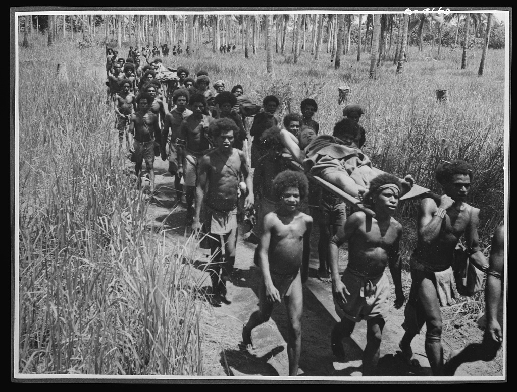 "Natives aid Allied drive in New Guinea jungles. Without the aid of the New Guinea natives, many a wounded Allied soldier might have died in the trackless jungles. Native carriers ""Fuzzy Wuzzy Angels"" are shown bringing wounded troops into an advanced American dressing station in the Buna area"