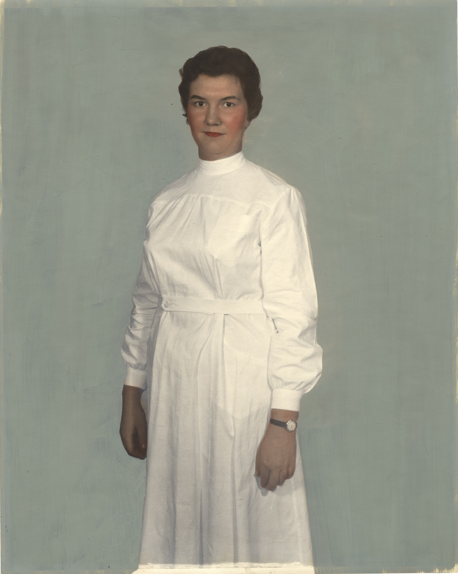 Nurse wearing uniform from Luxembourg