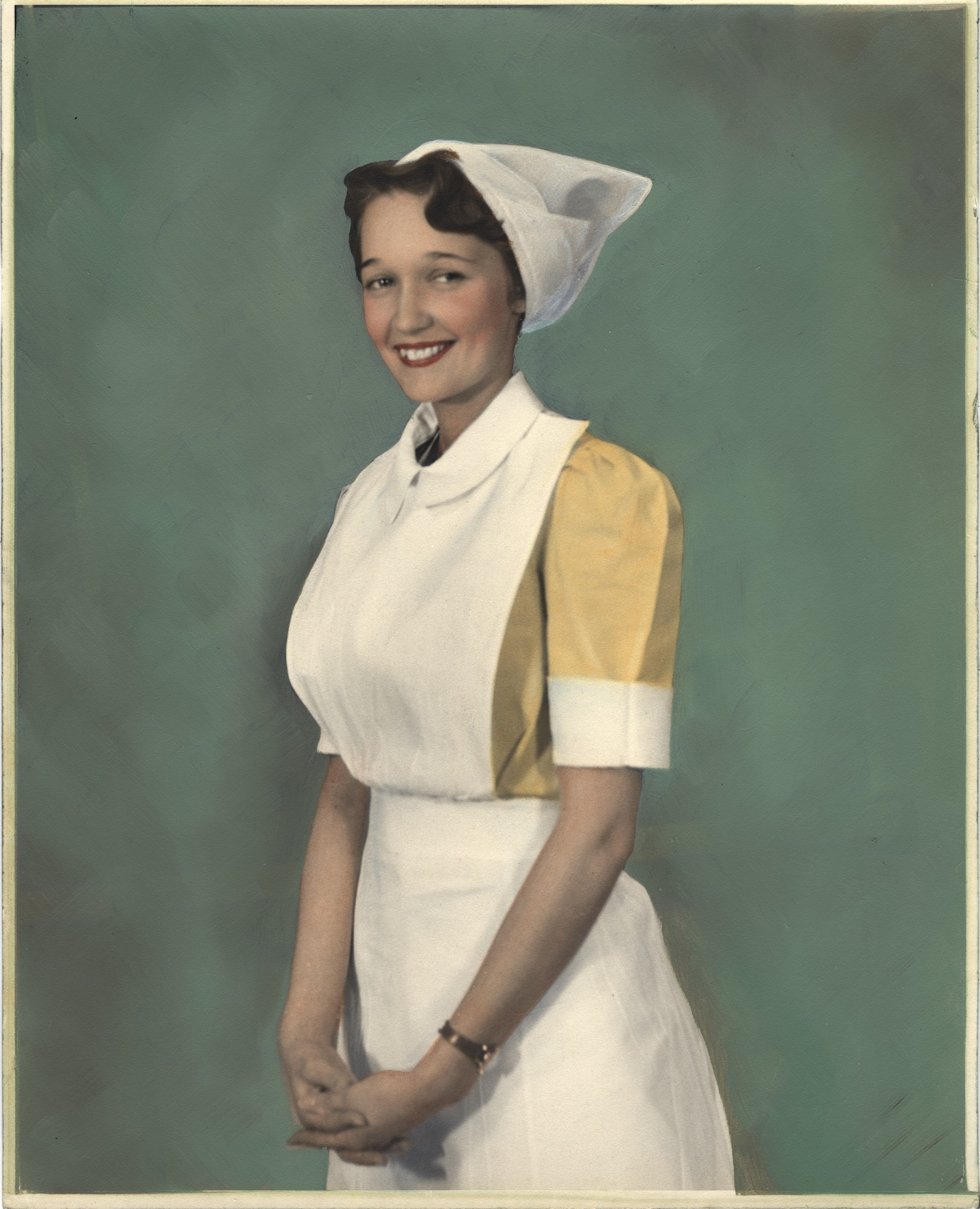 Nurse wearing uniform from England