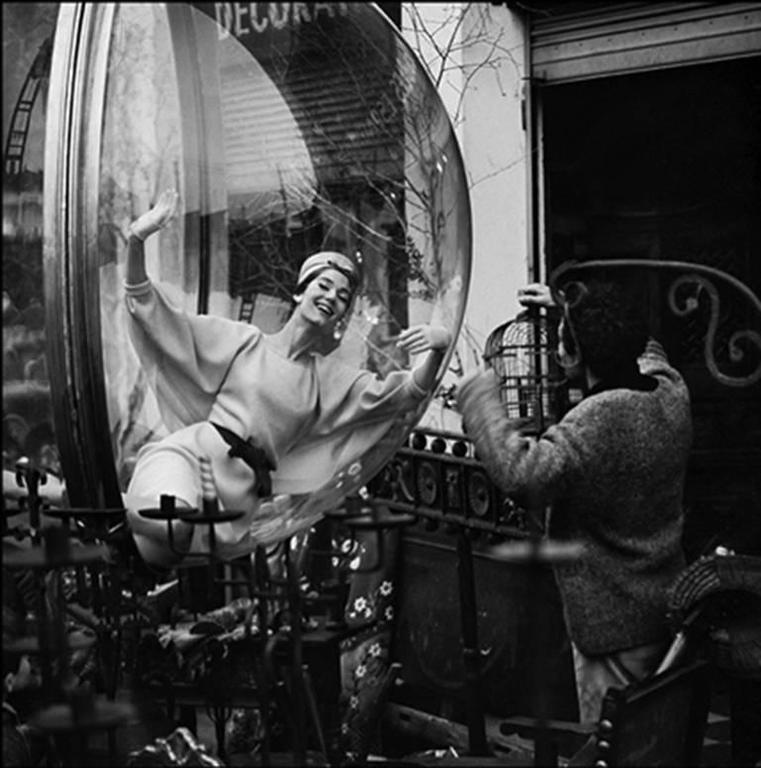 Melvin Sokolsky and model Simone d'Aillencourt in Paris Bubbles in 1960s for fashion magazine Harpers Bazaar