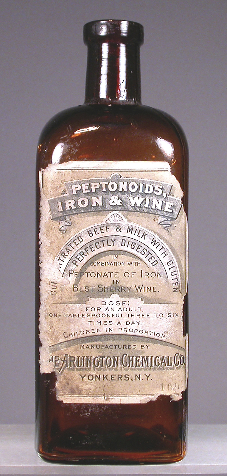 Patent medicine. OTC preparation. Peptonoids, Iron and Wine.