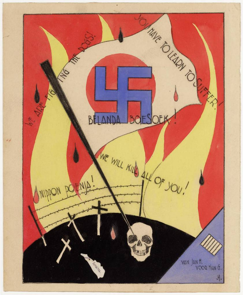 "maker creator: High Andreas de Manufacture Year 1942 - 1945 Period WWII Description Poster in red, blue, yellow and black watercolor. Below, in black earth with crosses, a skull, barbed wire and a map of Sumatra. The earth is planted a stick with the Japanese flag. On the Japanese flag in blue, a swastika. From the earth beat yellow flames. On the poster are several lines of text: Belanda Boesoek! (Holland rotten) We are fighting the dogs, You have to learn to suffer, we will kill all of you, Nippon Poenja. Right a blue triangle with: ""From Jan H. G. Han."""