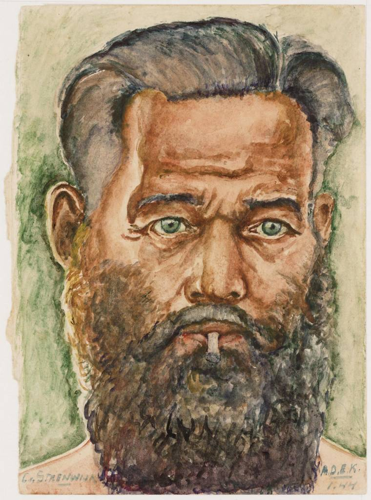 "maker creator: Steenwijk Cornelis van Manufacture Year 01-01-1944 Period WWII Description Self Portrait C. Steenwijk, and face. Bottom right the words ""ADEK 1:44."""