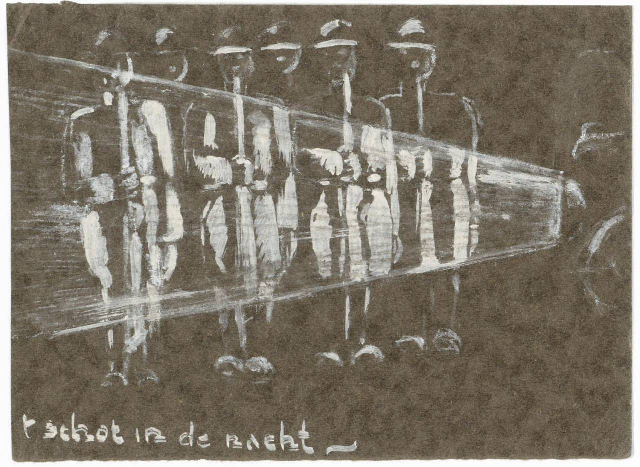 A drawing with white watercolor on white paper of the silhouettes of a group (Japanese) soldiers present arms. The silhouettes are right highlighted by a headlight of an automobile. Below the text: '' shot in the night. ""