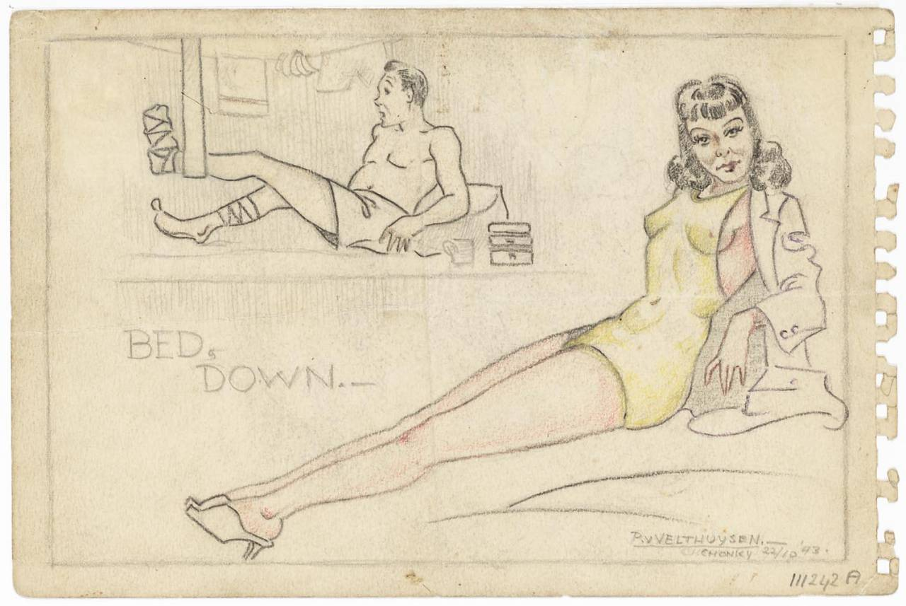 "A pencil (color) of a reclining man and woman. In the foreground, a woman swimsuit with about an open jacket. Top left in the background a man wearing only shorts. The foot of the left leg is connected to and hanging in a sling, a little above the bed. Around the shaft of the right leg as well as a connection. Between them the text: ""Bed Down"". Right under the name ""P. v. Velthuysen, Chonky 22/10 '43."""