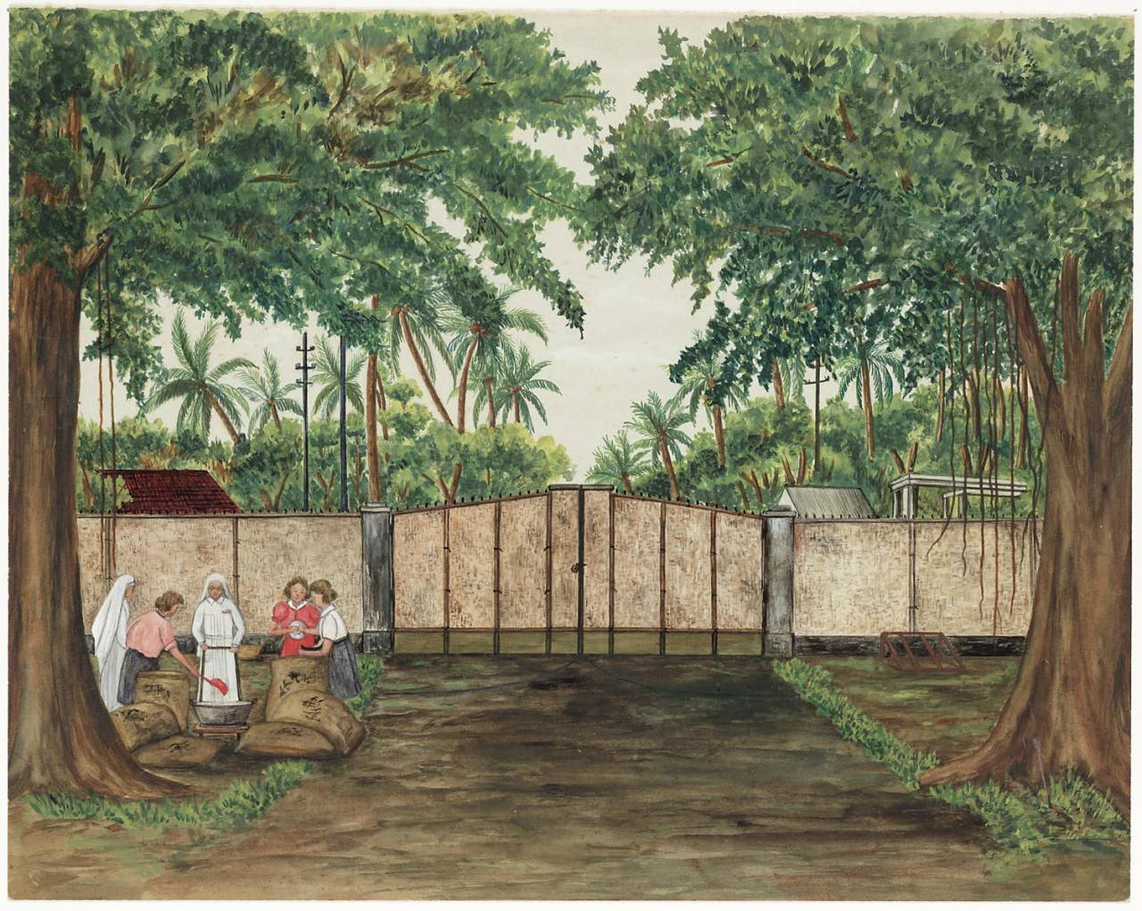 "maker creator: Horak J. Manufacture Year 1944 Period WWII Description Watercolor with in the foreground a road between high trees. The road leads to a closed gate. Behind the gate dense tropical vegetation and a few roofs. On the left two nuns and three women in some pockets. One of the women creates rice in a bowl. On the back: ""Input Solo Camp 1944. Mother Theresa (Schriks) with Sr. Anna and some ladies get sacks of rice for the camp."""