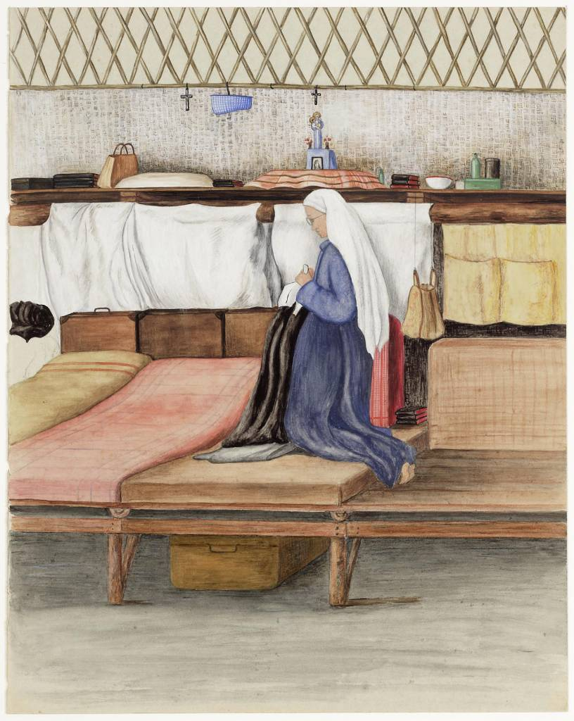 "maker creator: Horak J. Manufacture Year 1944 Period WWII Description A watercolor of a barn interior. A number of berths are along one wall. A nun kneels on one of the bunks, it is seen pictured left. Above the beds is a shelf mounted. On the shelf is at the height of the head of the nun a shrine with a statue of Mary and crosses. On the back: ""Mother Theresa (Schriks) on its british So we were together the night we went (rolled daytime above our bultzak) the mosquito net over us 1st shack - next to us lived other people I slept opposite.... M. Theresa. Solo 1944 ""."