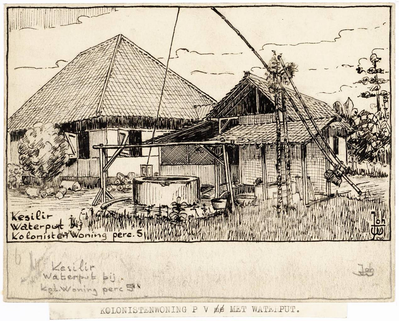 maker creator: Warmer Johan Manufacture Year 1942 - 1943 Period WWII Description Pen drawing of a residential building right in the foreground a smaller building with a well before. Above the pit a construction of kapokstammen for the collection of the water.
