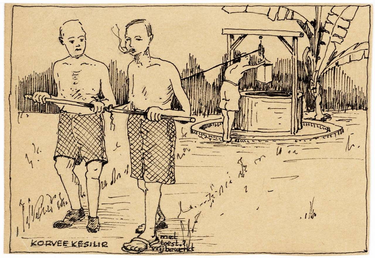 maker creator: Warmer Johan Manufacture Year 1942 - 1943 Period WWII Description Pen drawing of three men at a waterhole. On the pit through a wooden structure built with a winch. pick two men with a rope on the putemmer. The third man bends over the edge of the well to the hook to which the bucket is hanging.