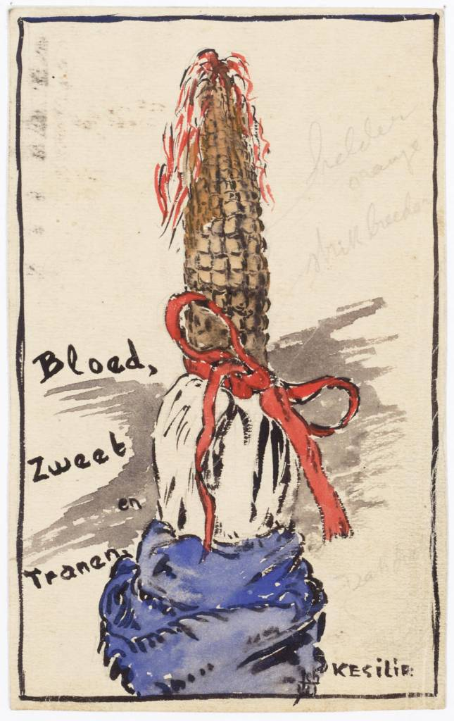 "Drawing in watercolor of an orange-colored cob with red bow, white middle and a blue handkerchief at the bottom. Next to it the text: ""Orange upstairs But the Japanese were said to get the corn so the blood sweat and tears."" The handkerchief signering ""John W.""."