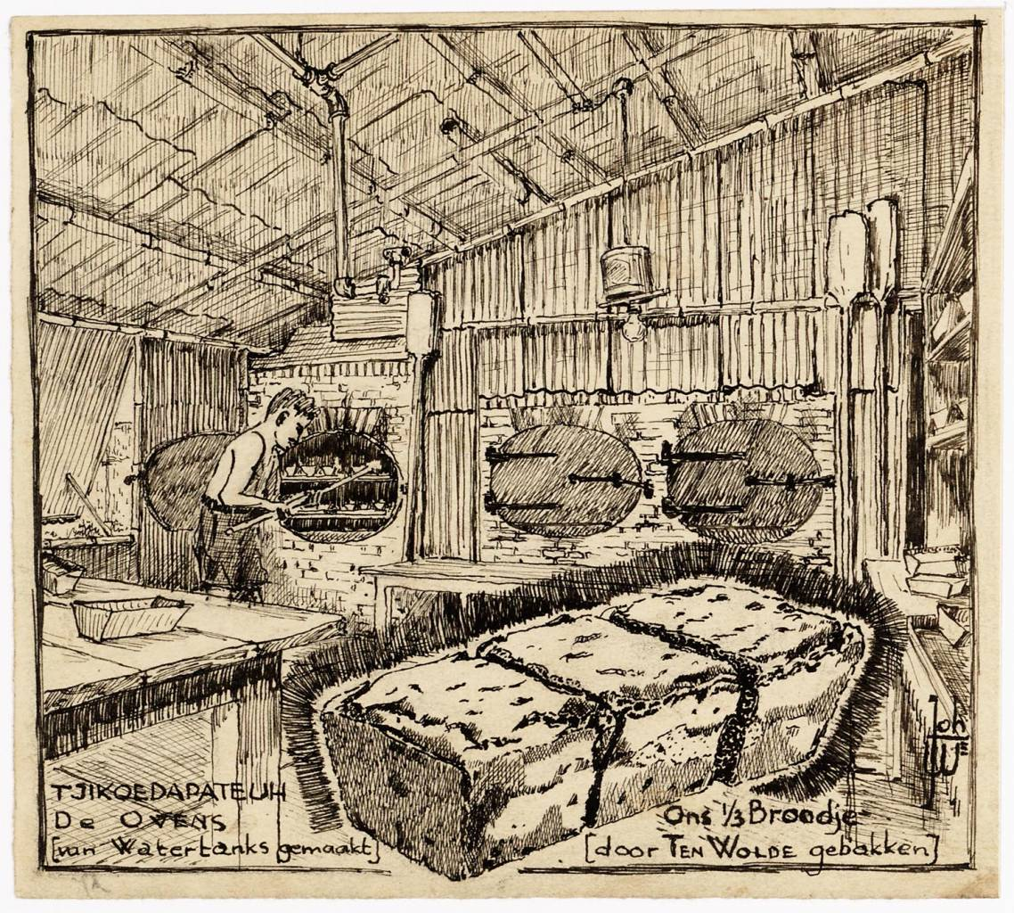 The ovens (made of water tanks) - our third roll (baked by Ten Wolde) maker creator: Warmer Johan Manufacture Year 1944 - 1945 Period WWII Description Pen drawing of the interior of a bakery. Against the wall are three furnaces. A man pushes dough cans in one of the furnaces. In the foreground is drawn sliced bread into three pieces.
