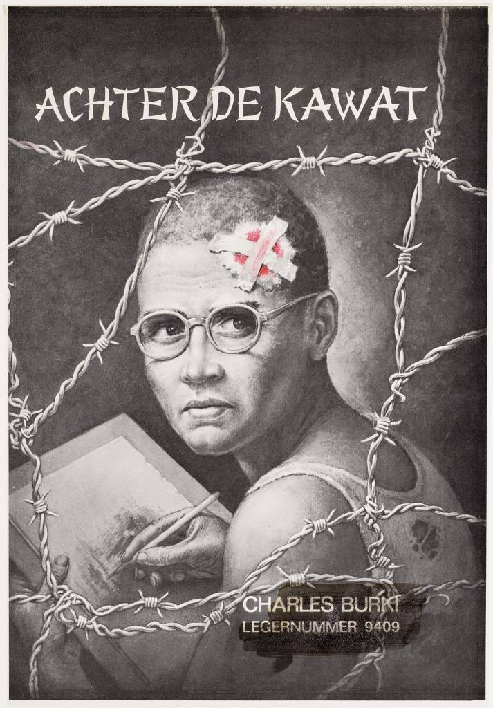 "A lithograph of a signatory man with glasses behind barbed wire. depicted from the shoulders of links. His head and face looking pictured to the left. Left on his forehead is a large bloodstained bandage. The man is wearing a singlet with tears. Top of the text: ""Behind the Kawat"". Bottom right: ""Charles Burki Army No. 9409""."