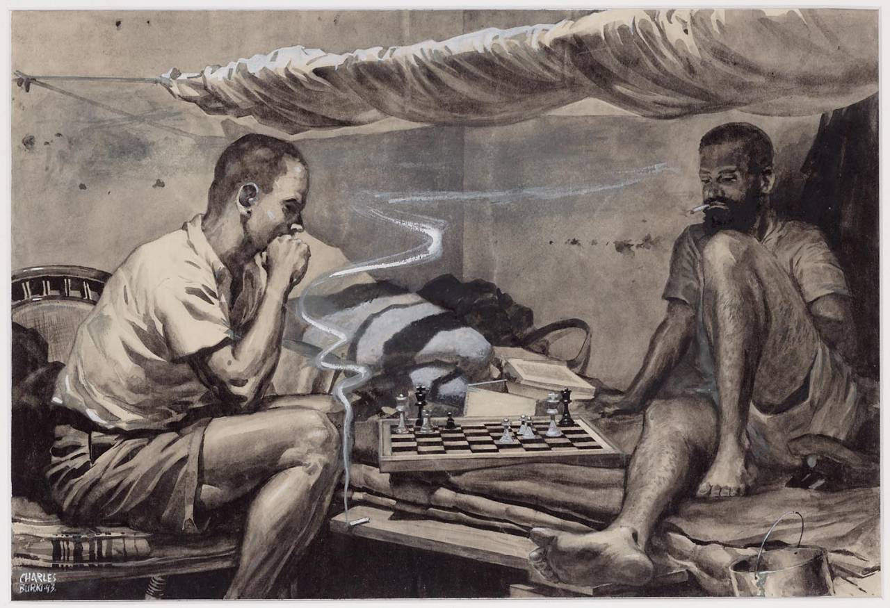 chess Players maker creator: Burki Charles Manufacture Year 1942 Period WWII Description A drawing in ink wash of a corner in a barracks where two men playing chess. Left a man on a chair, his head resting on his right hand. He is seen pictured right. A cigarette in front of him on a bed board. Right, a smoking man with beard on the bed where the bed board is a part of. hang a mosquito net above him. To his right is a military cap. Between men is a chessboard on the bed.