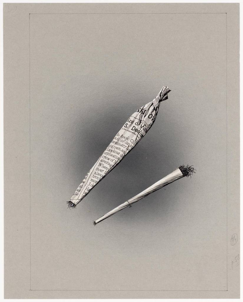 maker creator: Burki Charles Manufacture Year after 1945 Period WWII Description A pen drawing of two self-rolled cigarettes. The left large and rolled with printed paper, which has been rotated to the upper side in a point. The judge turned thin and dried leaf.
