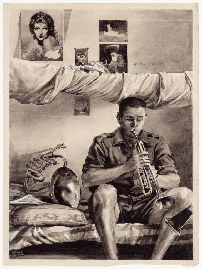 "practicing for Cabaret maker creator: Burki Charles Manufacture Year 1943 Period WWII Description A drawing in ink wash of a bed in a seated man playing trumpet. The man is wearing a military uniform. To his left is a horn. hangs a rolled mosquito net above him. On the wall behind him are several plates stuck under a portrait of a woman and a picture of father time (?). On the back in pencil: ""Preparing for the cabaret, Bandung 1943."". On the back you can see a pressure of the drawing with the inventory number 112118."