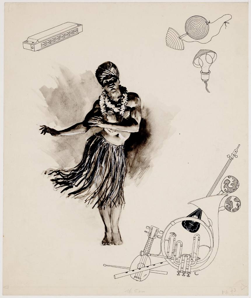 Cabaret maker creator: Burki Charles Manufacture Year 1942 - 1943 Period WWII Description A drawing in ink wash of a woman dressed as a man who does a kind of Hawaiian dance. Top left a pen drawing of a harmonica.