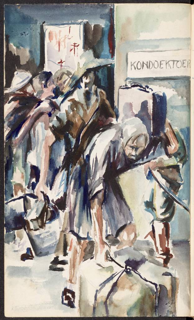 "maker creator: Lancée L. Manufacture Year 1942 - 1945 Period WWII Description Drawing in watercolor of people trudging with suitcases and bags in a building with a sign 'Koen Cloth Tour. The drawing is made on p. 298 of the book ""A century or historical stories."