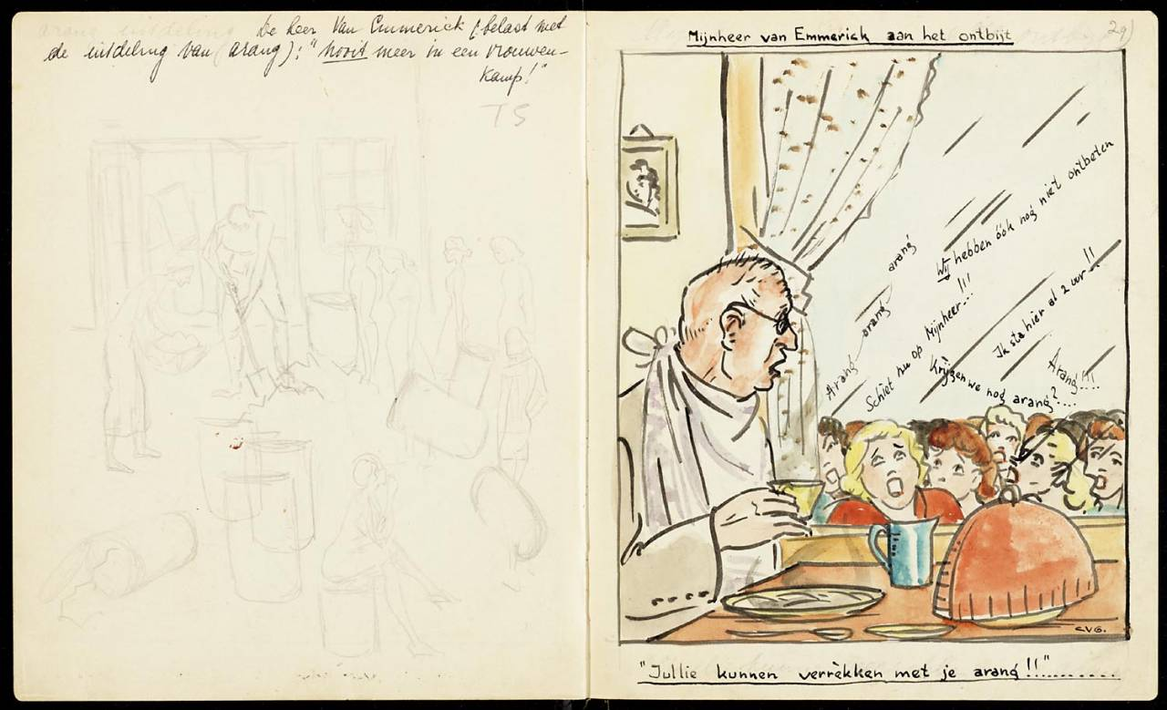 Mr Emmerich having breakfast maker creator: Grondelle Corrie van Manufacture Year ca. 1943 Period WWII Description Left a pencil drawing of a man who creates charcoal in baskets and barrels that are put forward by women. Right, a watercolor of a man having breakfast, while outside a large group of women at the window is about to yell at him.
