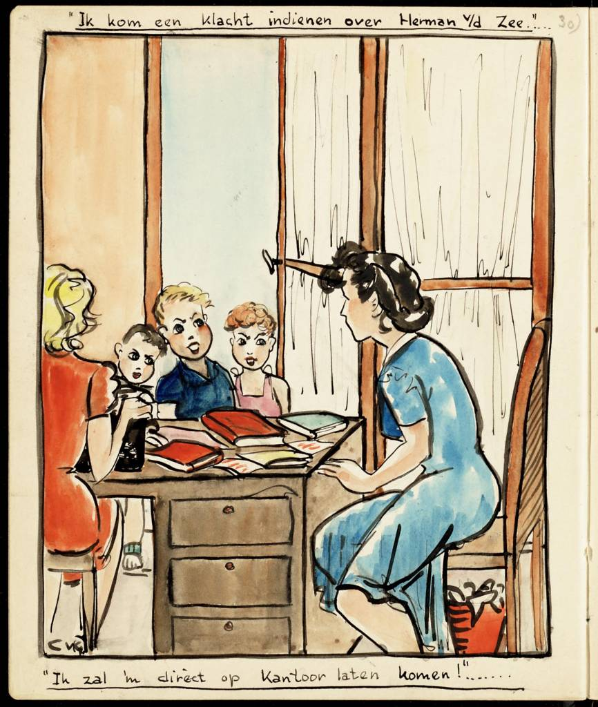 "I'll complain about Herman v / d Sea maker creator: Grondelle Corrie van Manufacture Year ca. 1943 Period WWII Description Watercolor of an office. A woman, seen only half, sitting behind a desk; another woman sits next to the desk. There are three children for the office. Caption: ""I'll let him get directly in Office!"""