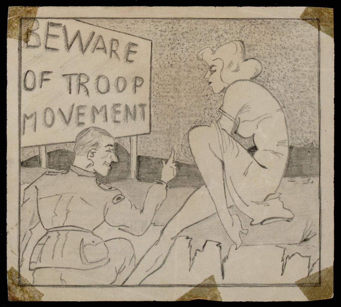 Beware of troop movement ' Period WWII Description part of group of drawings (44) G. Voorneman LF Ohl (4), P. van Bergen and anonymous on the Burma-Siam railway 1942-1945