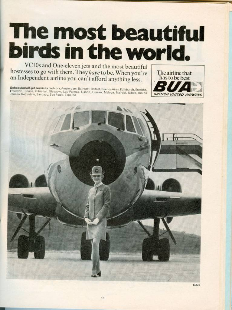 1969 BUA British United Airways Advert VC10 Stewardess