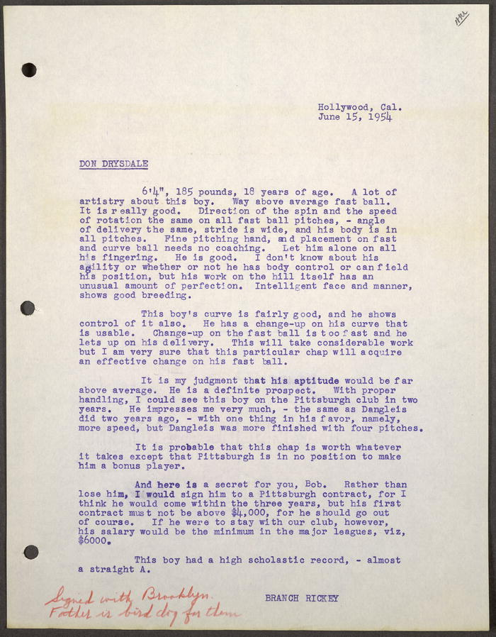 Branch Rickey's scouting report on Don Drysdale, 15 June 1954.