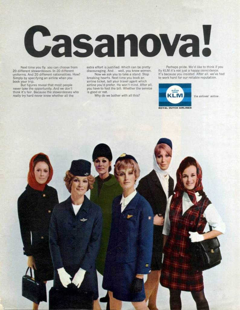 Casanova, KLM offers you a choice of stewardesses uniforms, June 1969