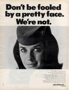 Don't be fooled by a pretty face. We're Not. Alitalia May 1965