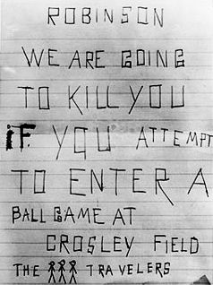 Example of hate mail Jackie Robinson received, May 20, 1950, Cincinnati, Ohio