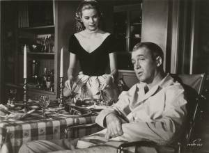Grace Kelly and James Stewart in Rear window directed by Alfred Hitchcock, 1954