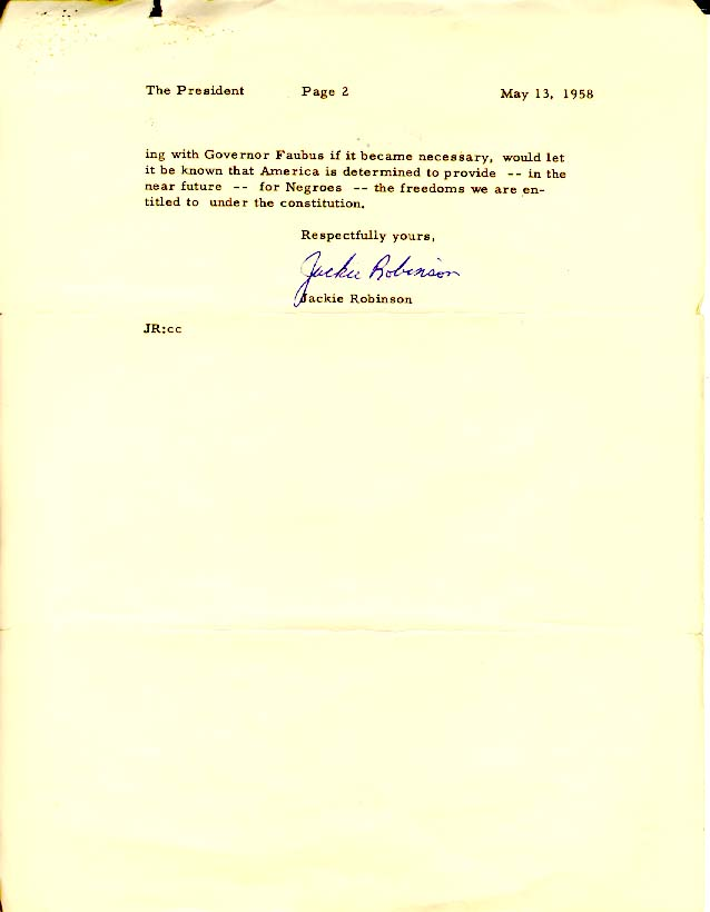 JACKIE ROBINSON TO PRESIDENT DWIGHT D. EISENHOWER MAY 13, 1958