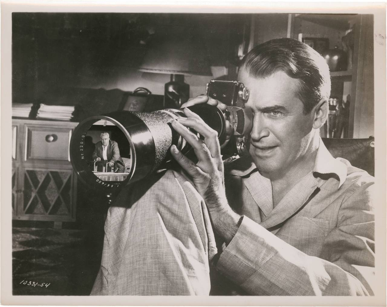 James Stewart in Rear window directed by Alfred Hitchcock, 1954