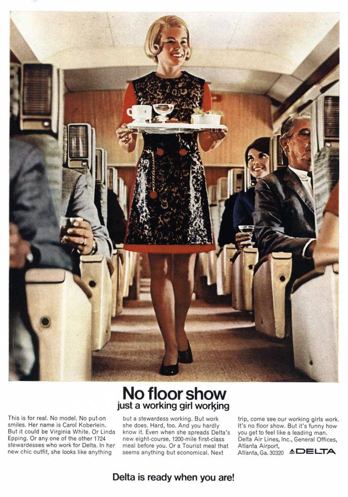Just a working girl working. 1969 ad for Delta Airlines