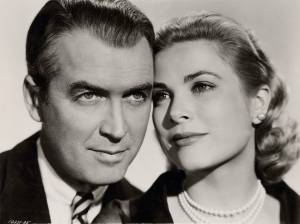 Portrait of James Stewart and Grace Kelly in Rear window directed by Alfred Hitchcock, 1954